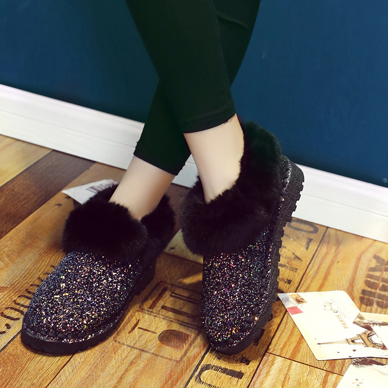 2019 New Winter Women Sequins Snow Boots Fashion Thicken Plush Shiny Cotton Shoes Thick Bottom Non-slip Warm Ankle Boots 36-41 17