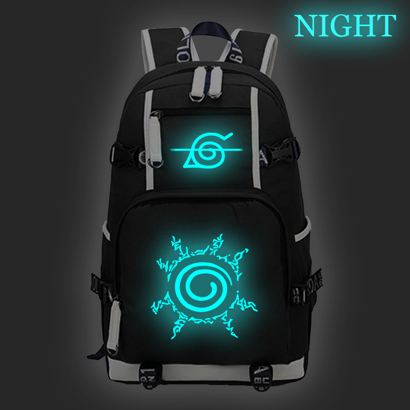 Japanese Anime Naruto Luminous Backpack Children Casual Backpack Boys Girls School Bag Large Capacity Backpack Travel Backpack