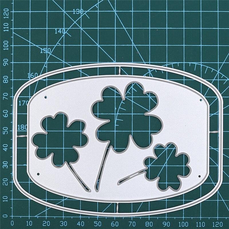 Eastshape Clover Frame Metal Cutting Dies Lucky Flower Tag Dies Scrapbooking Album Embossing Stencil Die Cut Craft Dies Decor