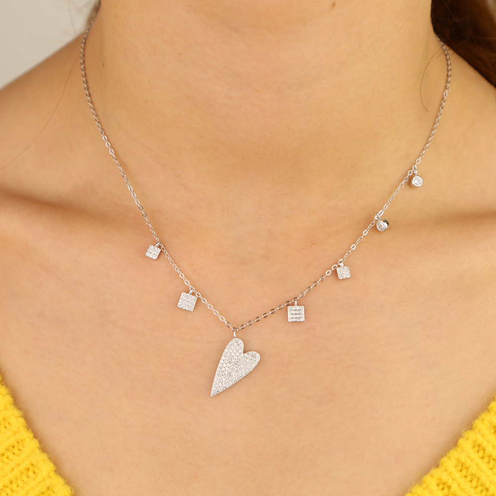 925 Sterling Silver Heart Clear CZ Pendant Necklaces Sparking heart cz charm drop choker Women Fashion Jewelry valentines gift