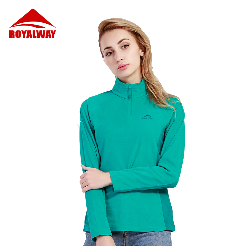ROYALWAY Women Stand Up Collar Long Sleeve TShirt Running Jacket Sports Fleece Softshell Outdoor Exercise Sweaters RFLL3350F