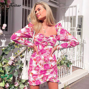 Image 3 - Hugcitar 2019 long sleeve floral print ruched ruffles mini dress autumn winter women party cute  outfits streetwear