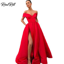 Real Rill Off The Shoulder Evening Dress Sexy Side Split Lace Up Back Satin Floor Length A Line Formal