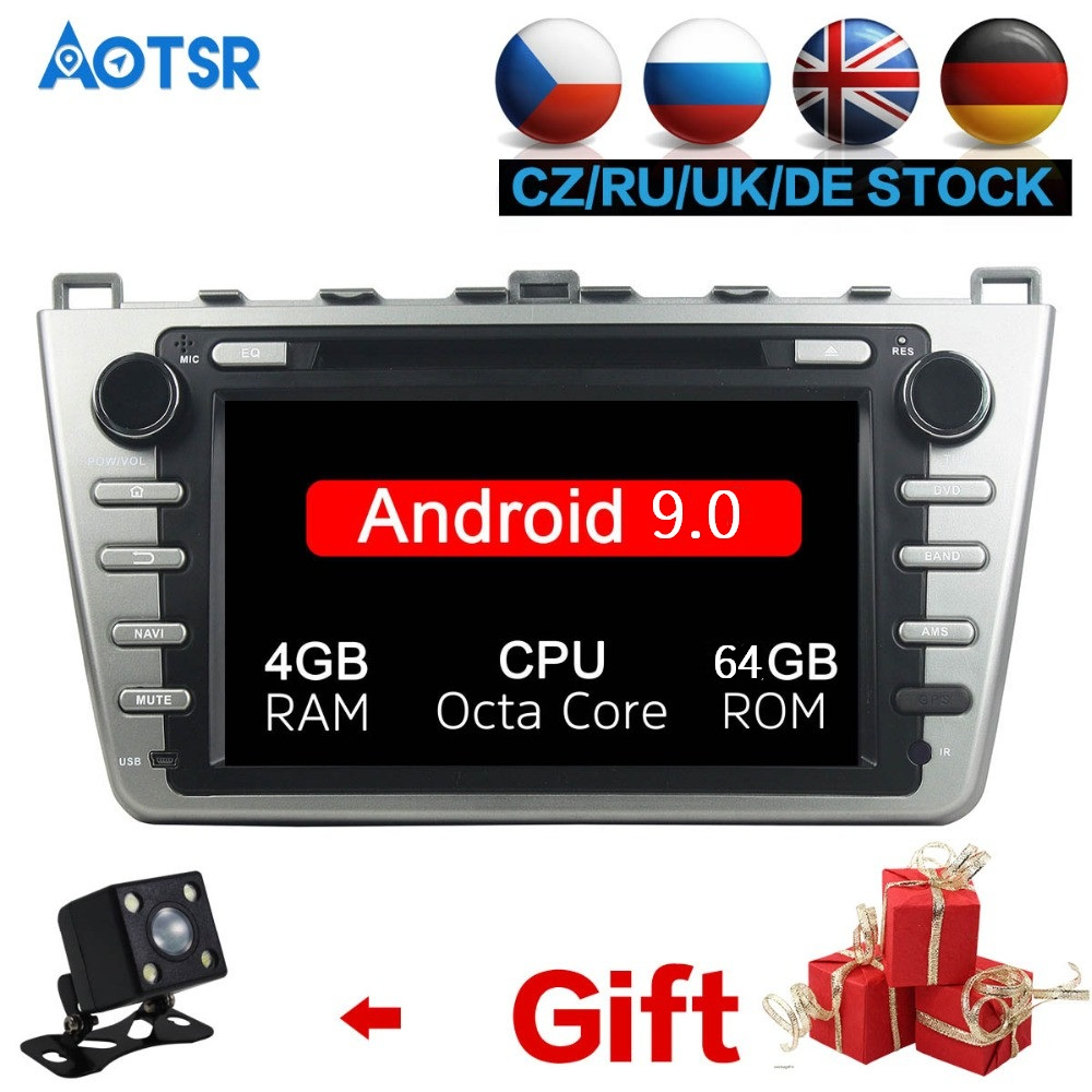 <font><b>Android</b></font> 9.0 8 Core Car DVD Player GPS Navi For <font><b>Mazda</b></font> <font><b>6</b></font> Atenza 2008-2012 <font><b>Multimedia</b></font> HeadUnit stereo tape recorder 2 din radio IPS image