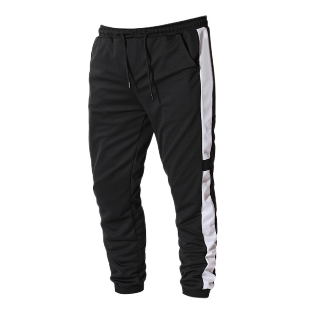 Black Summer Men Pants Striped Straps Streetwear Sport Pant Casual Stretch Mens Trouser Joggers Pantalon Homme Masculina Trouser