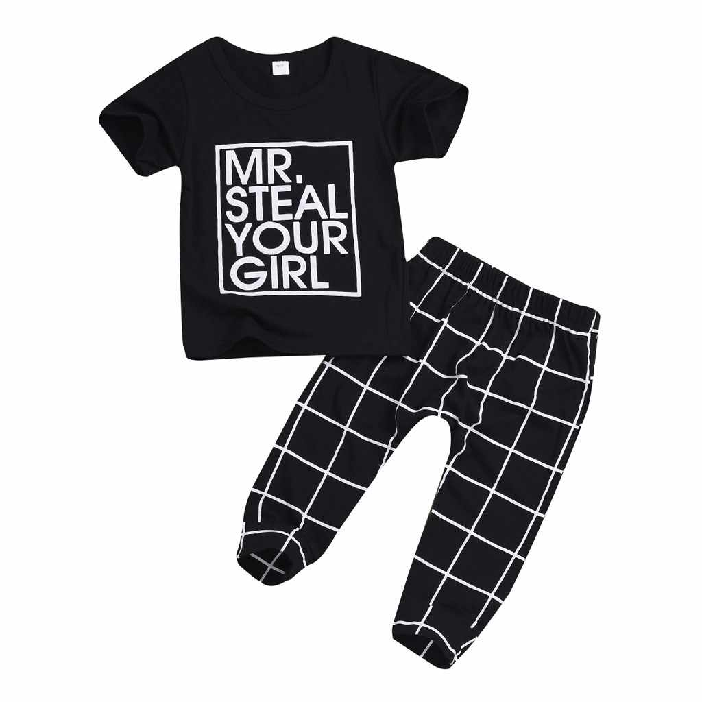 Kleinkind Baby Jungen Mädchen Valentinstag Brief Tops Hosen Plaid Hosen Outfits Patricks Tag T-shirts Set Baumwolle Outfit Kinderen