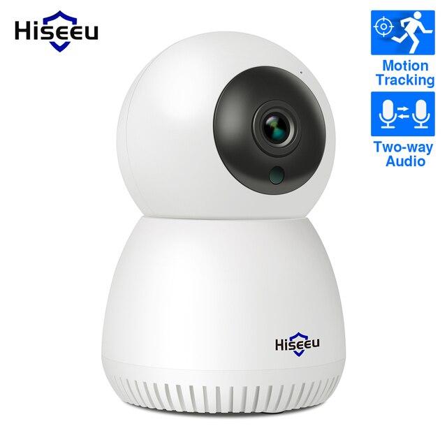 Hiseeu cámara IP de seguridad para el hogar, dispositivo inalámbrico de Audio bidireccional, con tarjeta SD de seguimiento automático para sistema de cámara inalámbrica, 1080P 2MP