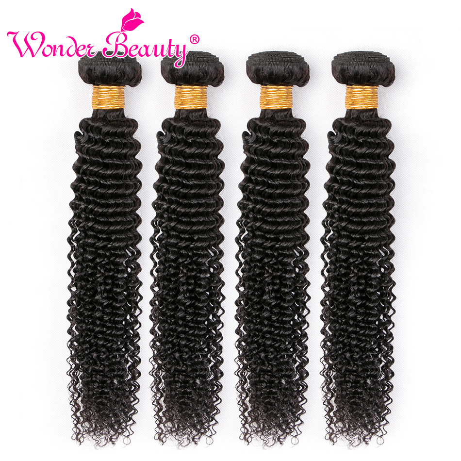 Mongolian Kinky Curly 4 Bundles deal Hair Weave Wonder Beauty Hair Human Hair Extensions Non Remy Mixed Length 8-30 inches piece