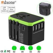 Rdxone 플러그 어댑터 여행 어댑터 범용 전원 어댑터 충전기 미국 영국 EU AU 벽 전기 플러그 소켓 변환기