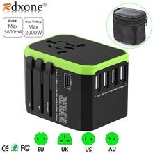 Адаптер Rdxone, дорожный адаптер, универсальный адаптер питания, зарядное устройство для США, Великобритании, ЕС, Австралии, настенные электрические вилки, розетки, конвертер