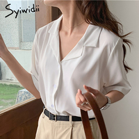 Syiwidii Camisas de mujer blusas 2021 de verano de manga corta abotonada Casual damas Tops 2021 verano coreano moda camisas azul blanco