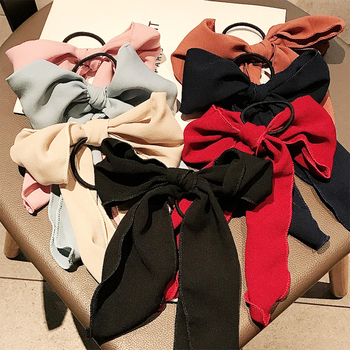 Red bow hair act the role ofsimple maiden hair cord tie head ponytail hair ring female headwear web celebrity image