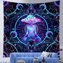 Indian Mandala Tapestry Witchcraft Mushroom Tapestry Bohemian Decoration Chakra Meditation Home Decor Hippie Sheet Yoga Mat