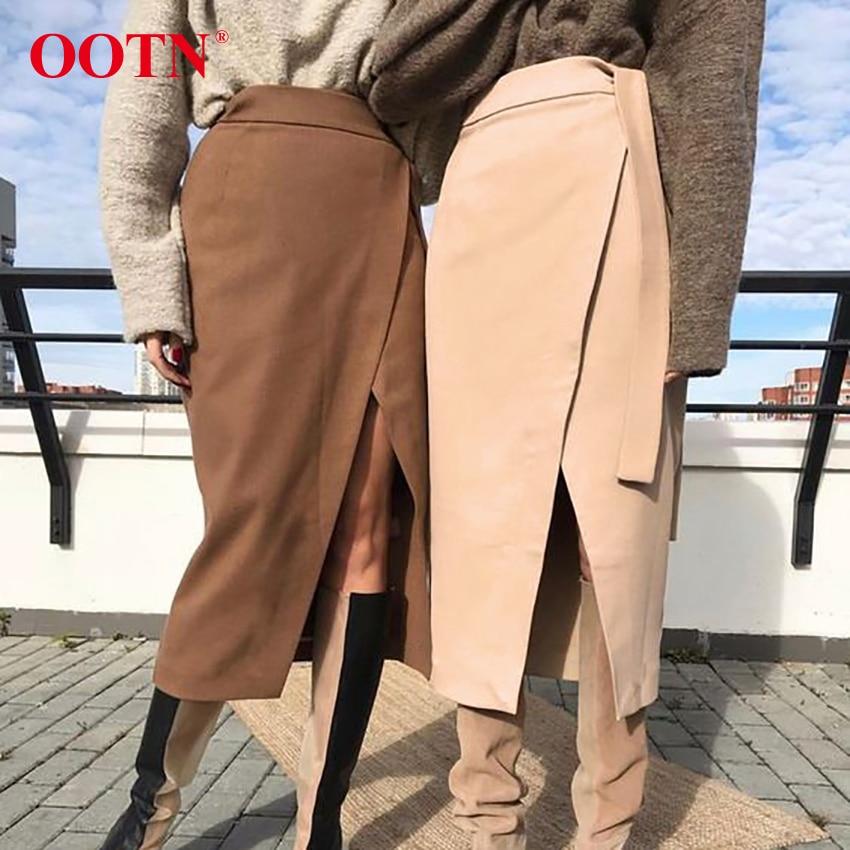 Image 5 - Ootn vintage marrom assimetria envoltório saia outono inverno camurça midi saias de cintura alta feminino saia longa escritório caqui 2019 modaSaias   -