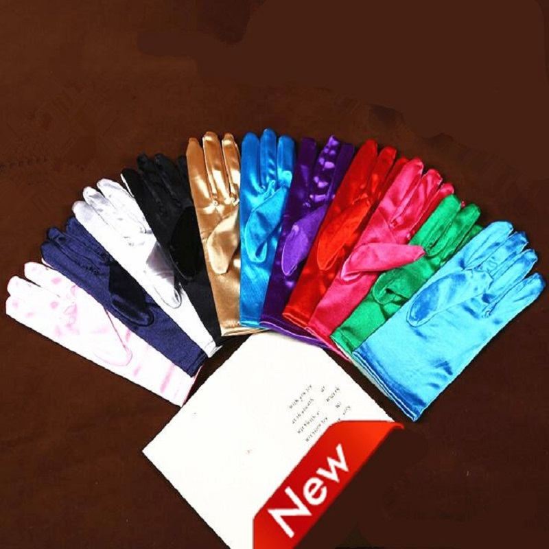 Colorful Satin White Glove Bridal Gloves Green Women Dance Party Wedding Gloves Full Finger Bride Accessories ST267