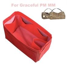 For Graceful MM GM Genuine Leather Tote Organizer Purse Insert Bag in Cosmetic Diaper Handbag