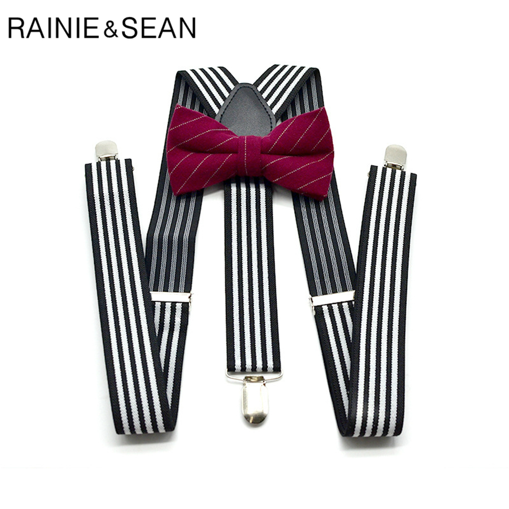 RAINIE SEAN Suspenders Men Gray Striped Mens Suspenders Braces For Trousers British Vintage Shirt Suspender Pants 3.5cm 120cm