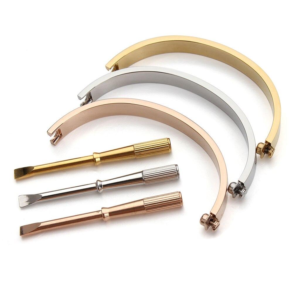 Браслеты для влюбленных 16-21 см, овальные ювелирные изделия из титановой стали, браслеты для влюбленных, женские и мужские браслеты с отвертк...