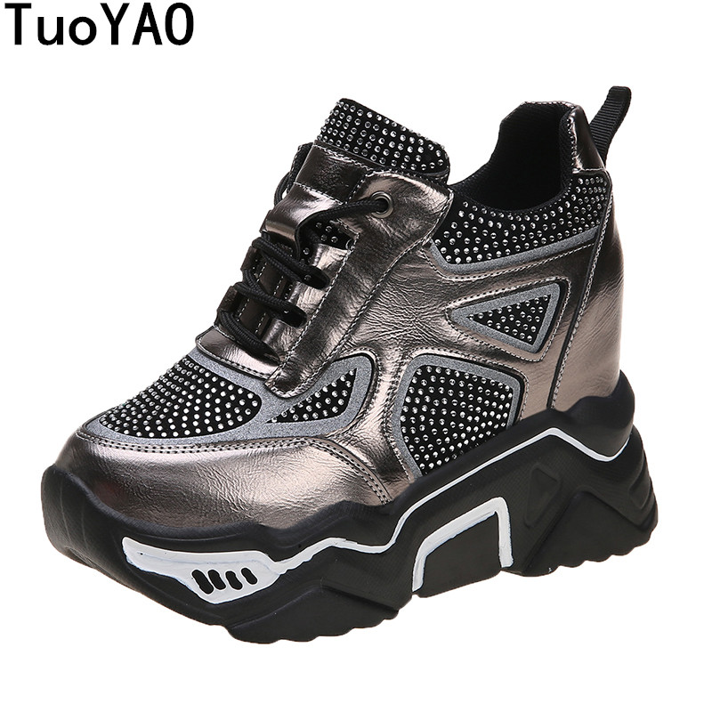 Ladies Chunky Platform Sneakers Fashion Black Tenis Female Casual Shoes Woman Walking Comfort Women's Vulcanized Shoes Spring