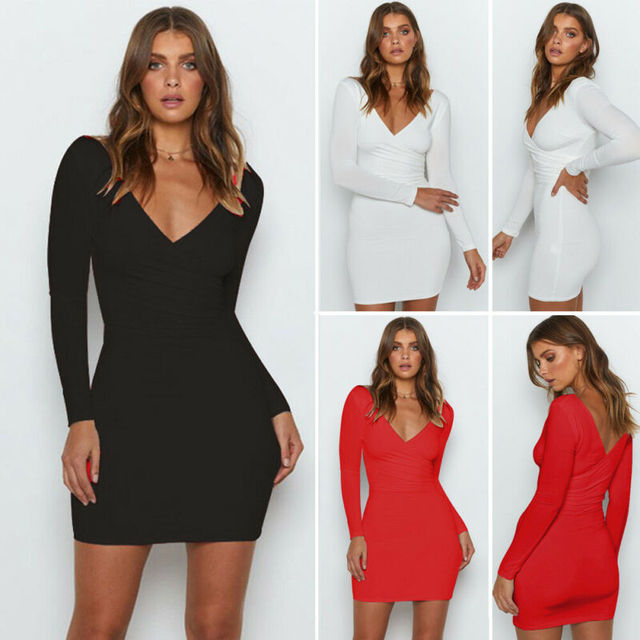 Women Deep V-Neck Cocktail Evening Clubwear Party Long Sleeve Plain Jersey Stretch Ladies Bodycon Sexy Dress