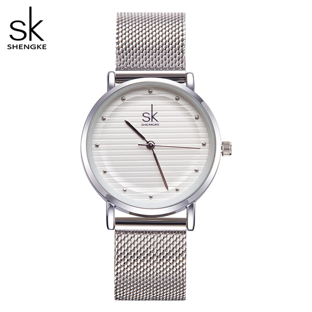 Shengke מותג אופנה שעוני יד נשים נירוסטה בנד נשים שמלה שעונים נשים קוורץ שעון Relogio Feminino החדש SK