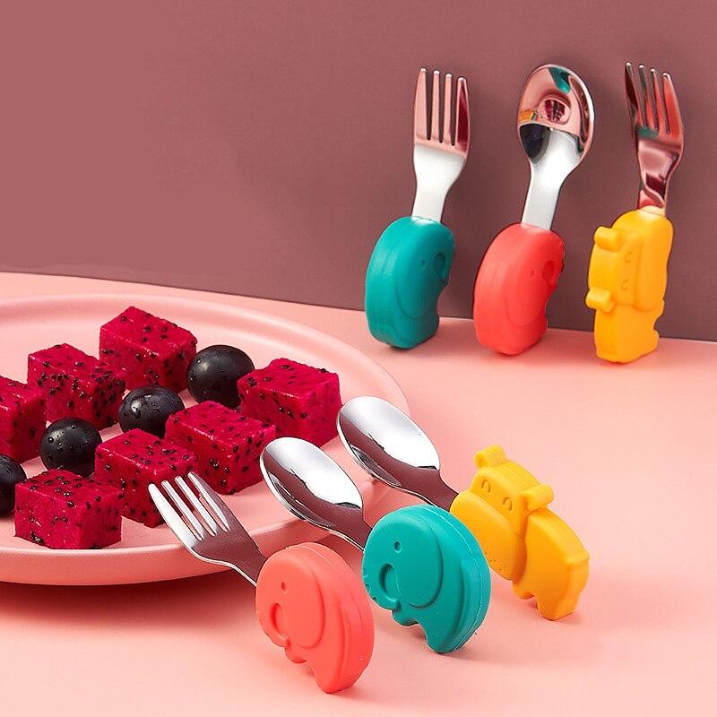 Utensilios de mesa para bebés, utensilios de acero inoxidable para niños, cubiertos de dibujos animados, tenedor cuchara de alimentación para niños Utensilios    - AliExpress