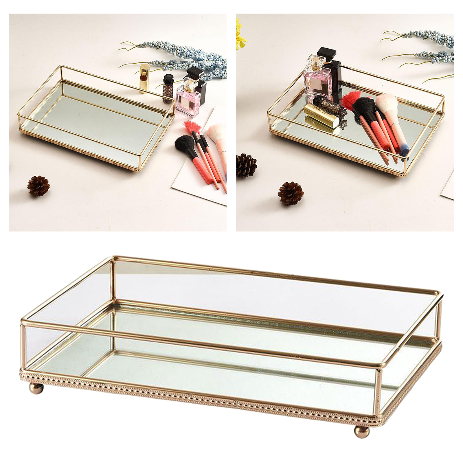 Mirror Glass Mirrored Tray Desk Decorative Vanity Tray Jewelry Perfume Organizer Makeup Tray For Dresser Bathroom Bedroom Best Discount 4b326 Goteborgsaventyrscenter