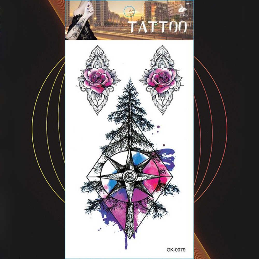 Calligraphy Aequis Bird Temporary Tattoos Stickers Mandala Compass Forest Body Triangle Heart Love Tattoo Arm Fake Tatoo