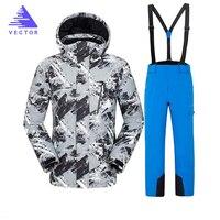 Vector Brand Skiing Jacket Pants Men Warm Winter Ski Snowboarding Suit Waterproof Windproof Men`s Ski Wear HXF70002