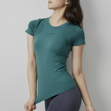 Women Summer Short Sleeve Yoga T Shirts Slim Stretchy Running Top Shirts Women Sportswear Gym Shirts Fitness Clothes Sport Tops cheap JJunLiM Polyester NYLON Broadcloth Breathable Quick Dry