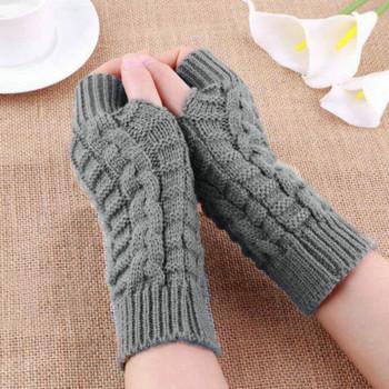 Rękawiczki moda dzianiny ramię wełniane rękawiczki zimowe ciepłe rękawiczki bez palców Unisex miękkie ciepłe miękkie rękawiczki kobiece gładkie rękawiczki #45 tanie i dobre opinie SAGACE WOMEN Knitted Dla dorosłych Stałe Elbow 1 PC Women Men Warm Thicken Gloves Winter Touch Screen Gloves Windproof Thermal Warm