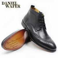 NEW FASHION LUXURY GENUINE LEATHER SHOES MEN ANKLE BOOTS HIGH GRADE TOP ZIP LACE UP MEN DRESS SHOES BLACK BROWN BASIC BOOTS MEN