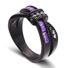 Fashion Bow Purple/White Zircon Ring For Women Accessories Jewelry Charm Black Girl Birthday Party Gift