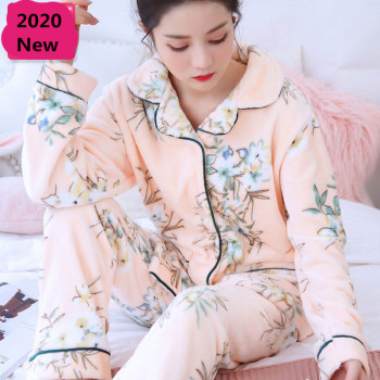 Winter Women's Pajamas Set Sexy Print Flower 2020 Fashion Mom Casual Female Turn-down Collar Flannel Sleepwear - discount item  37% OFF Women's Sleep & Lounge