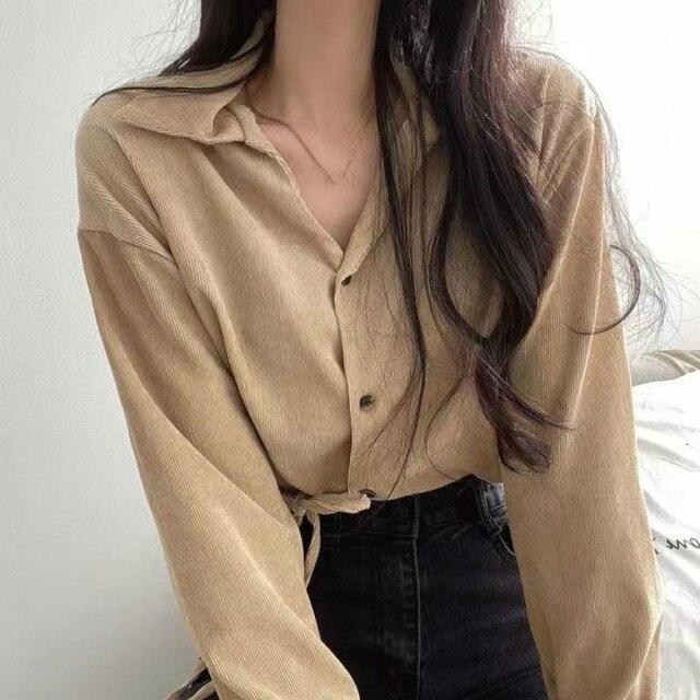 Ezgaga Lace Up Shirts Women 2020 Autumn Korean Slim Waist Button Solid Chic Turn-Down Collar Ladies Tops Fashion Streetwear 2