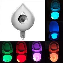 8 цветов сменный светодиодный ночник для сиденья унитаза умный Активированный датчик движения человека водонепроницаемый WC светильник на батарейках