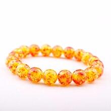 GVUSMIL New Arrival Fashion Women Male Jewelry Beaded Elastic Bracelets Unisex Yellow Beeswax Imitation Ambers Stone