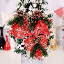 цена Christmas Tree Cloth Pendant with Pinecon Xmas Star Love Heart Tree Pattern Hanging Decor Christmas Home Bar Decoration 3 Pcs CM онлайн в 2017 году