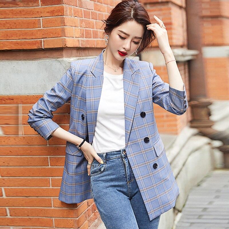 Large size S-3XL women's jacket 2020 new autumn women's fashion loose plaid mid-length ladies blazer Office suit elegant