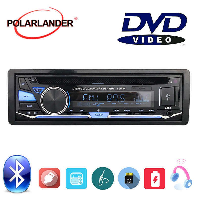 Audio Music FM AUX IN USB SD card BT Bluetooth 1 DIN CD DVD MP3 player With Remote Control Removable panel Car Radio Stereo image