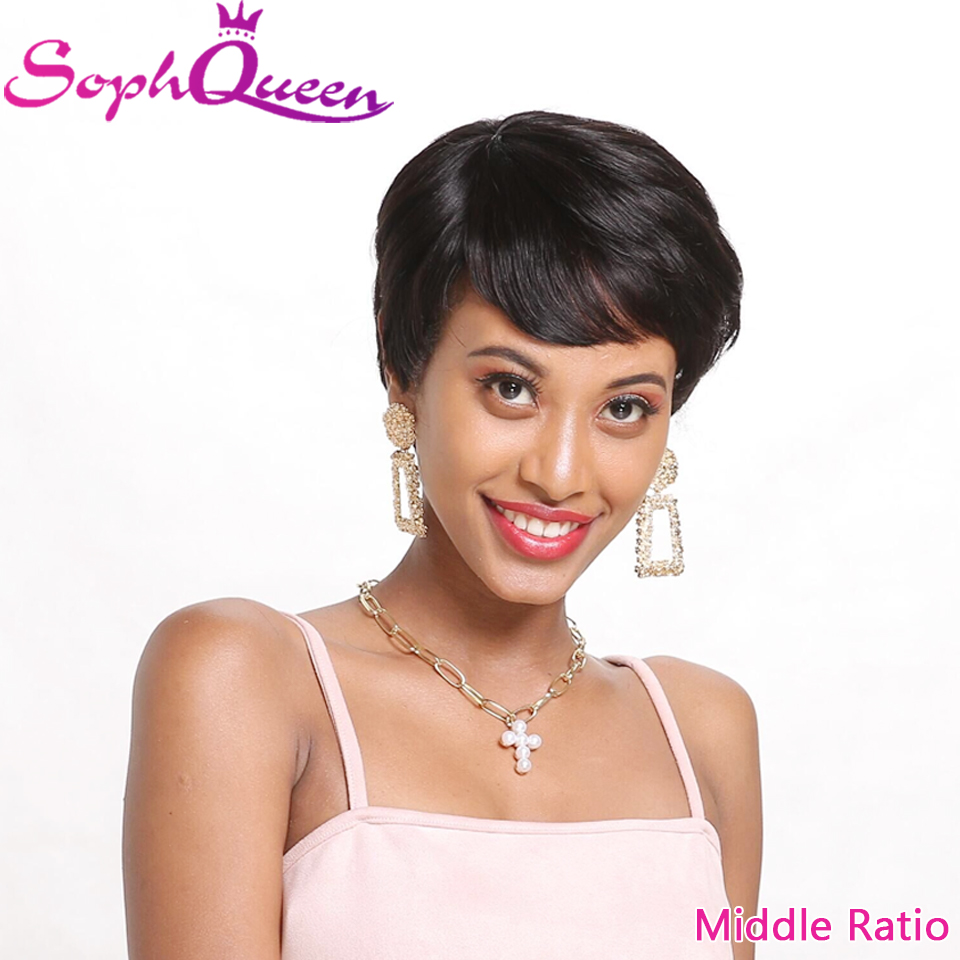 Soph Queen Middle Ratio Non-Remy Straight Human Hair Wig Short Bob Wigs 3.5inch 100% Brazilian Human Hair Machine Made