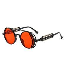 Steampunk óculos de sol retro masculino marca designer redondo punk eyewear estilo gótico 2021 novos produtos feminino uv400 óculos de sol