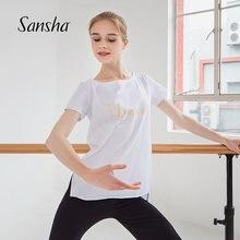 Sansha verão topos feminino nova moda impresso dança esportes camiseta de manga curta macio dancewear 70ai0026c