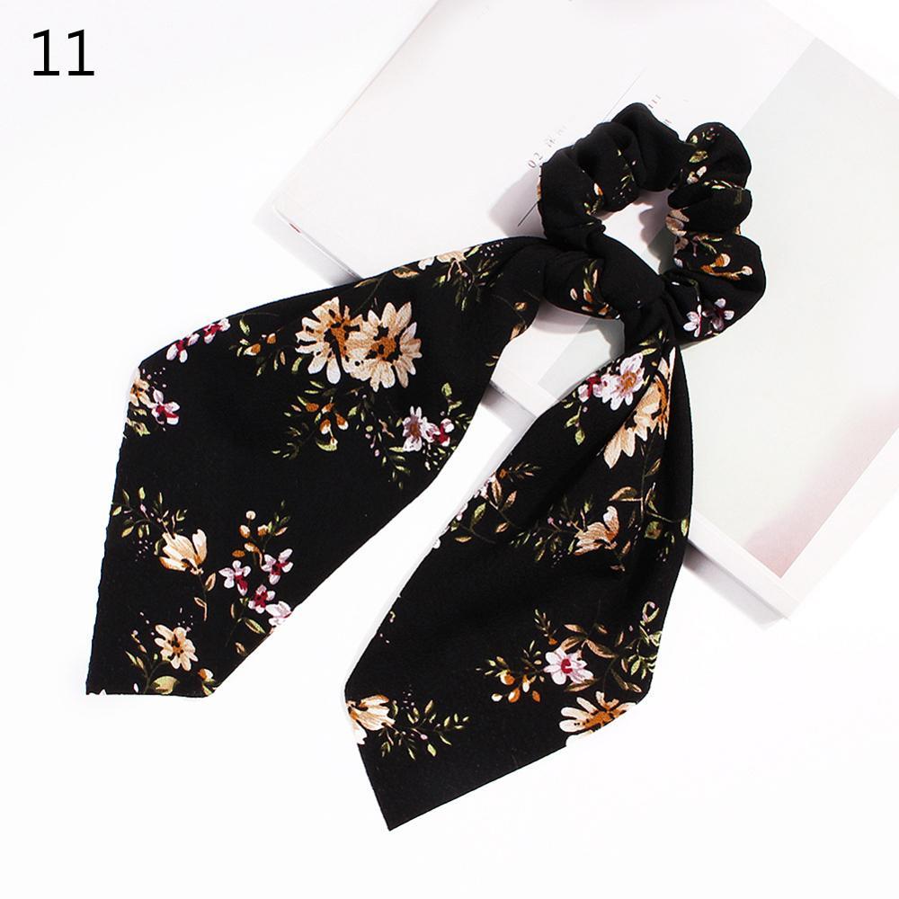 Bohème grande fleur chouchous longs banderoles arc cheveux écharpe femmes filles doux cheveux corde cravates mode cheveux accessoires chapeaux 63