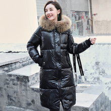 Down-Jackets Coats Hooded Fur-Collar Female Korean-Style Long Winter Plus-Size Women's