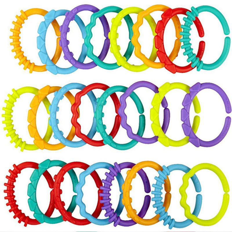 8Pcs/set Plastic Grip Baby Teether Rattles Rubber Rainbow Ring Molars Rattle Safety Toys for Children Crib Bed Stroller Hanging