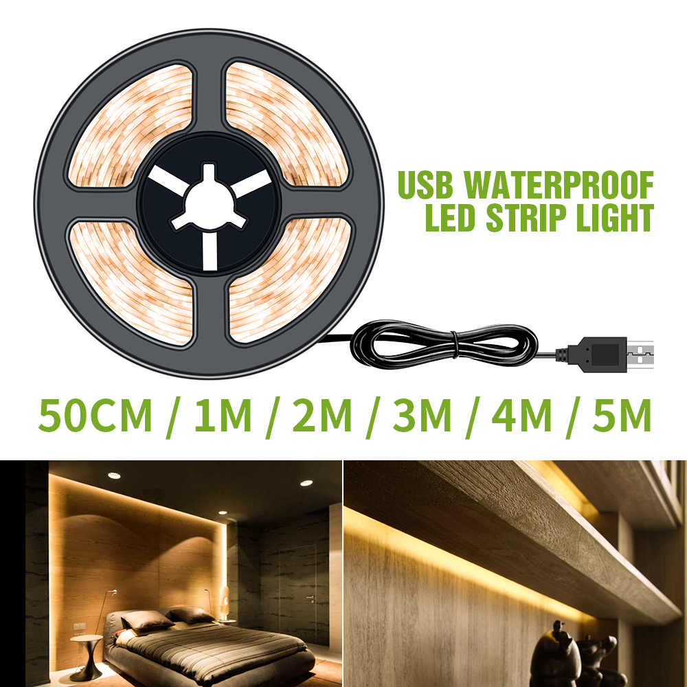 5V USB LED Strip Light 50CM 1M 2M 3M 4M 5M Christmas Decor Fita LED Waterproof Strip Tape Home Backlight Bias Lighting LED Strip