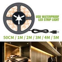 5V USB Светодиодные ленты светильник 50 см 1 м 2 м 3 м 4 м 5 м новогоднего украшения Fita светодиодные Водонепроницаемый ленты дома Подсветка светиль...