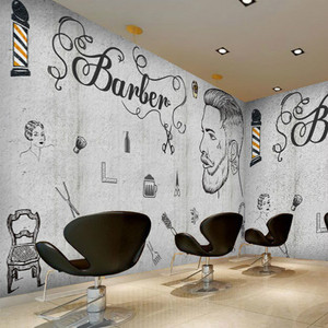 Papel De pared De peluquería De belleza personalizado, Papel De barbería 3D, Papel tapiz De pared De cemento gris, Papel tapiz De corte De pelo para barbería, Papel De pared 3D