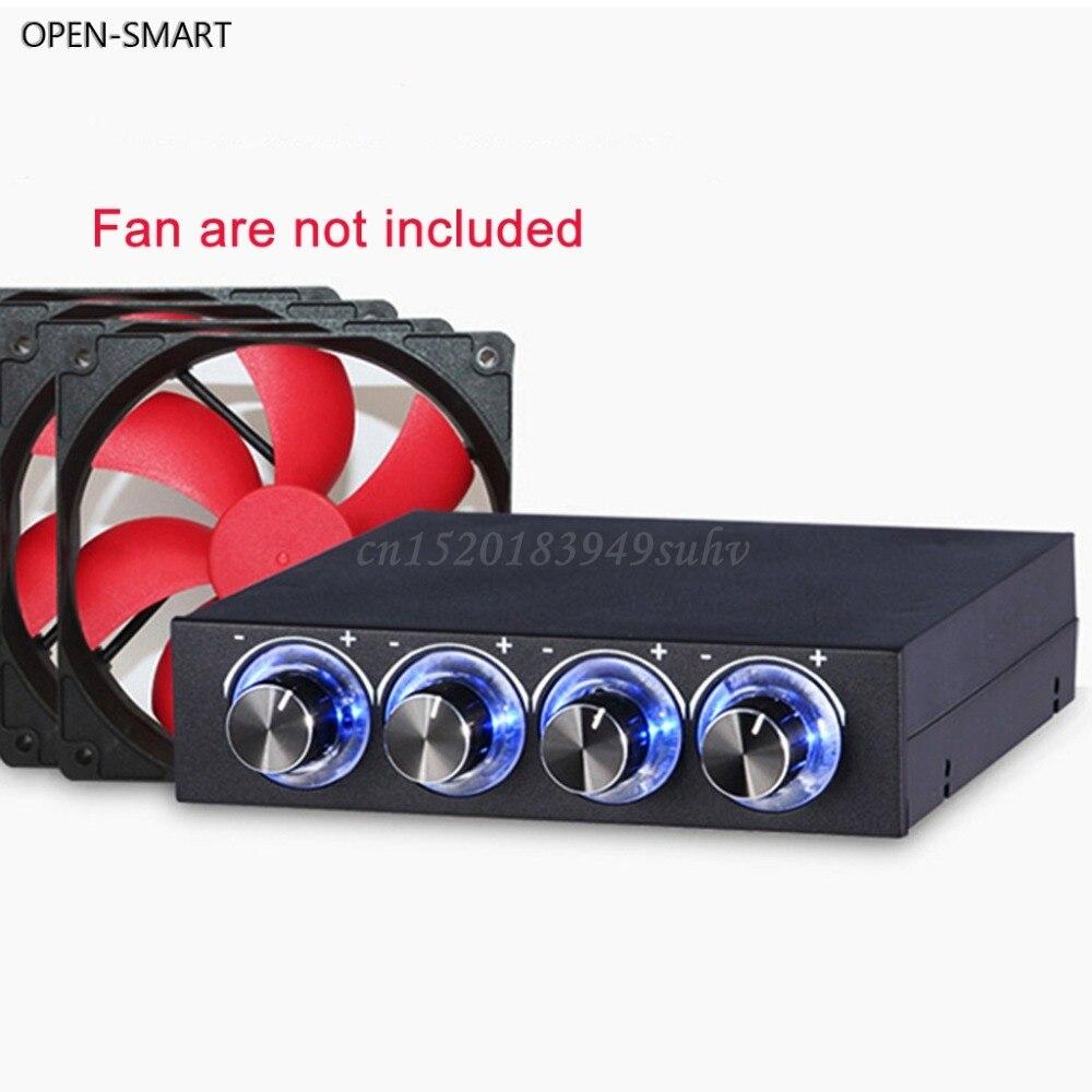 Sistema de refrigeração inteligente aberto, 3.5 polegadas, pc hdd 4 canais controle de ventilador de velocidade azul/vermelho led controlador frontal painel para ventiladores do computador